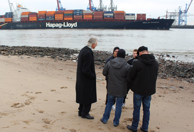 Our team interviewing 2 runners along the Elbe river in the port of Hamburg